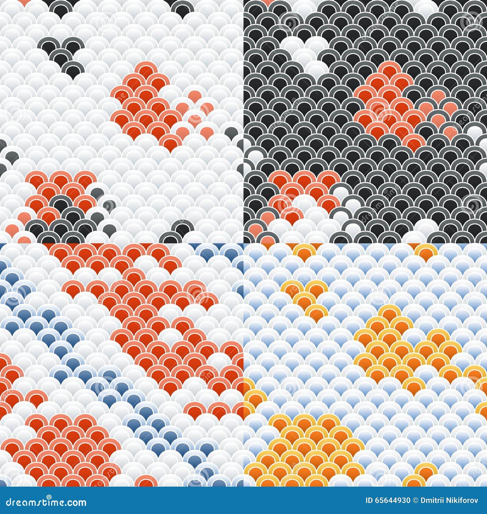 Carpe Koi Scales Seamless Pattern Set de poissons