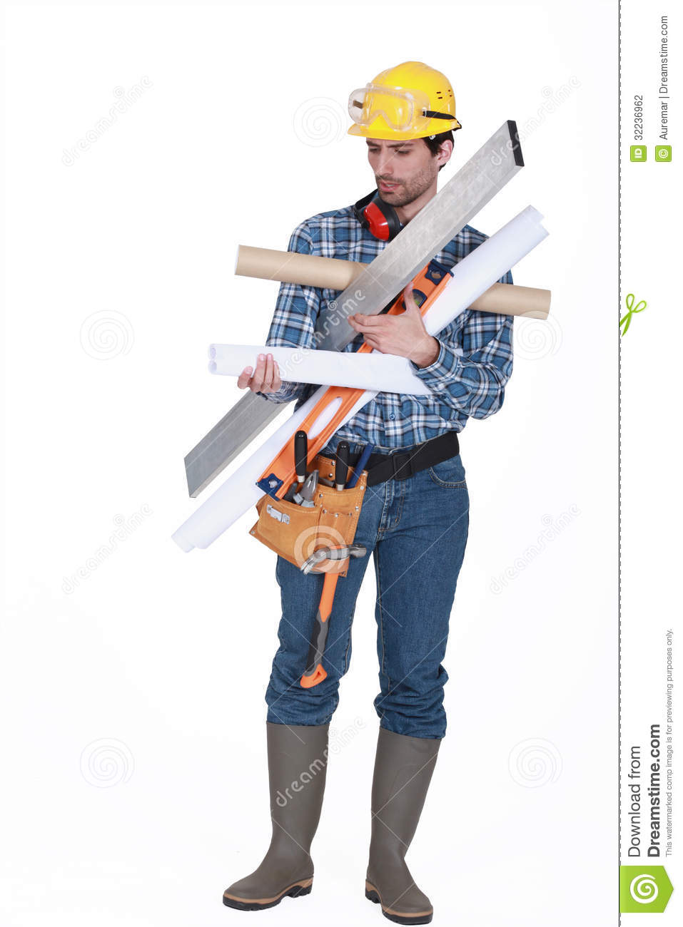 Carpenter carrying miscellaneous tools