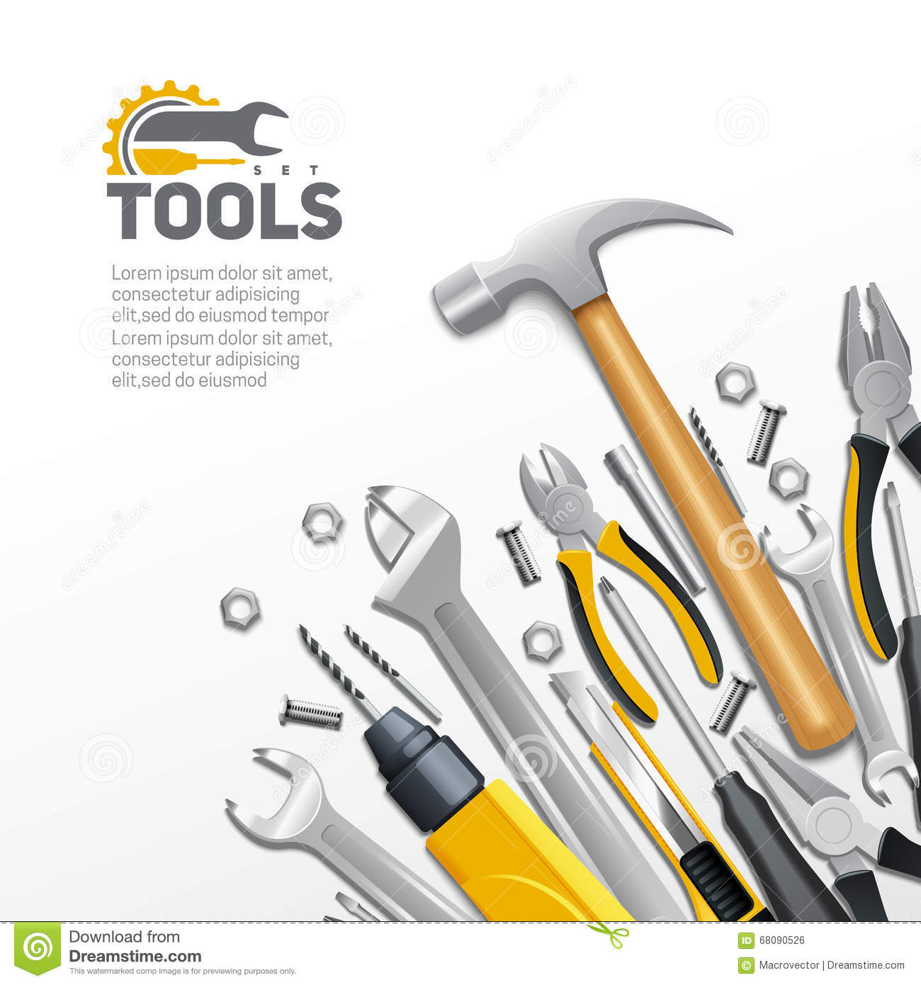 Carpenter Construction Tools Flat Composition Poster Stock