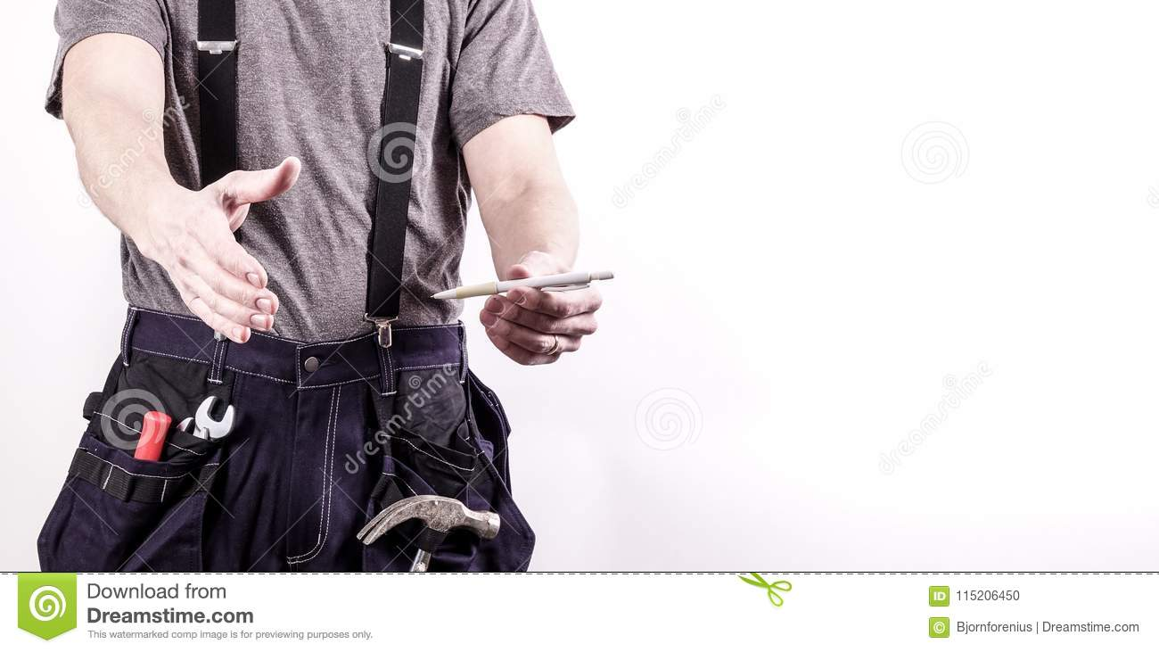 A carpenter / craftsman extends his hand, sign a contract