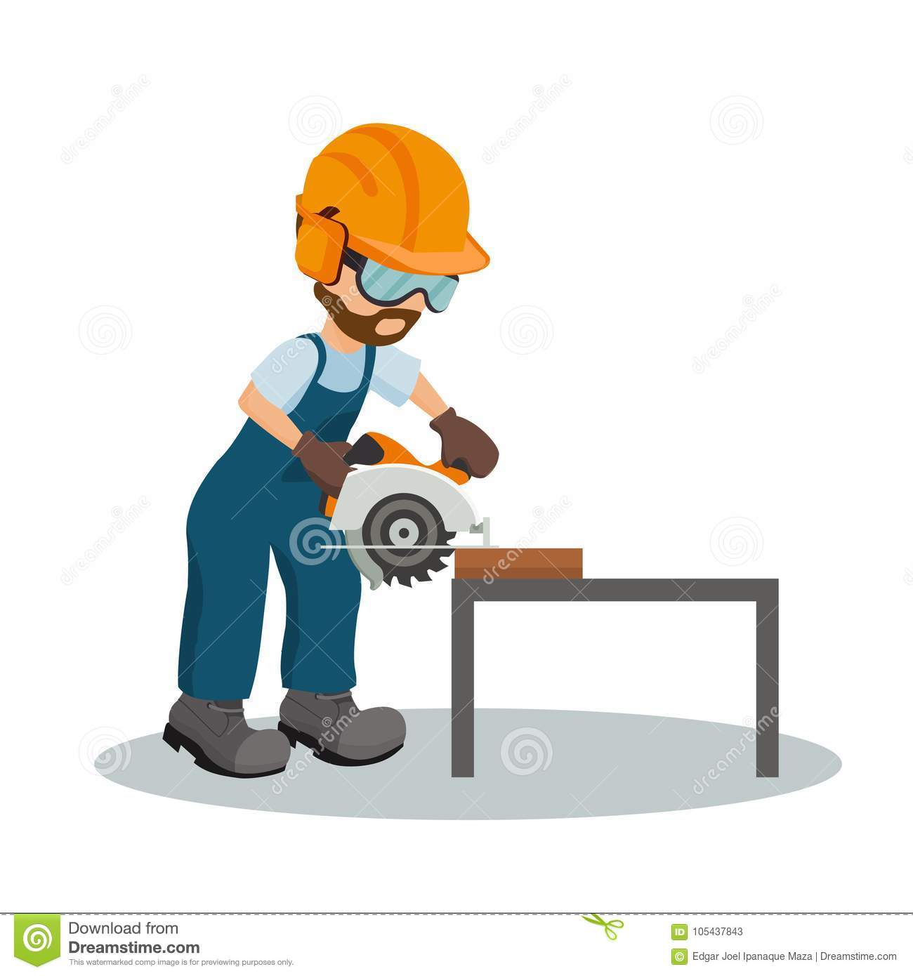 Male Carpenter Cutting A Wooden Plank With Circular Saw With