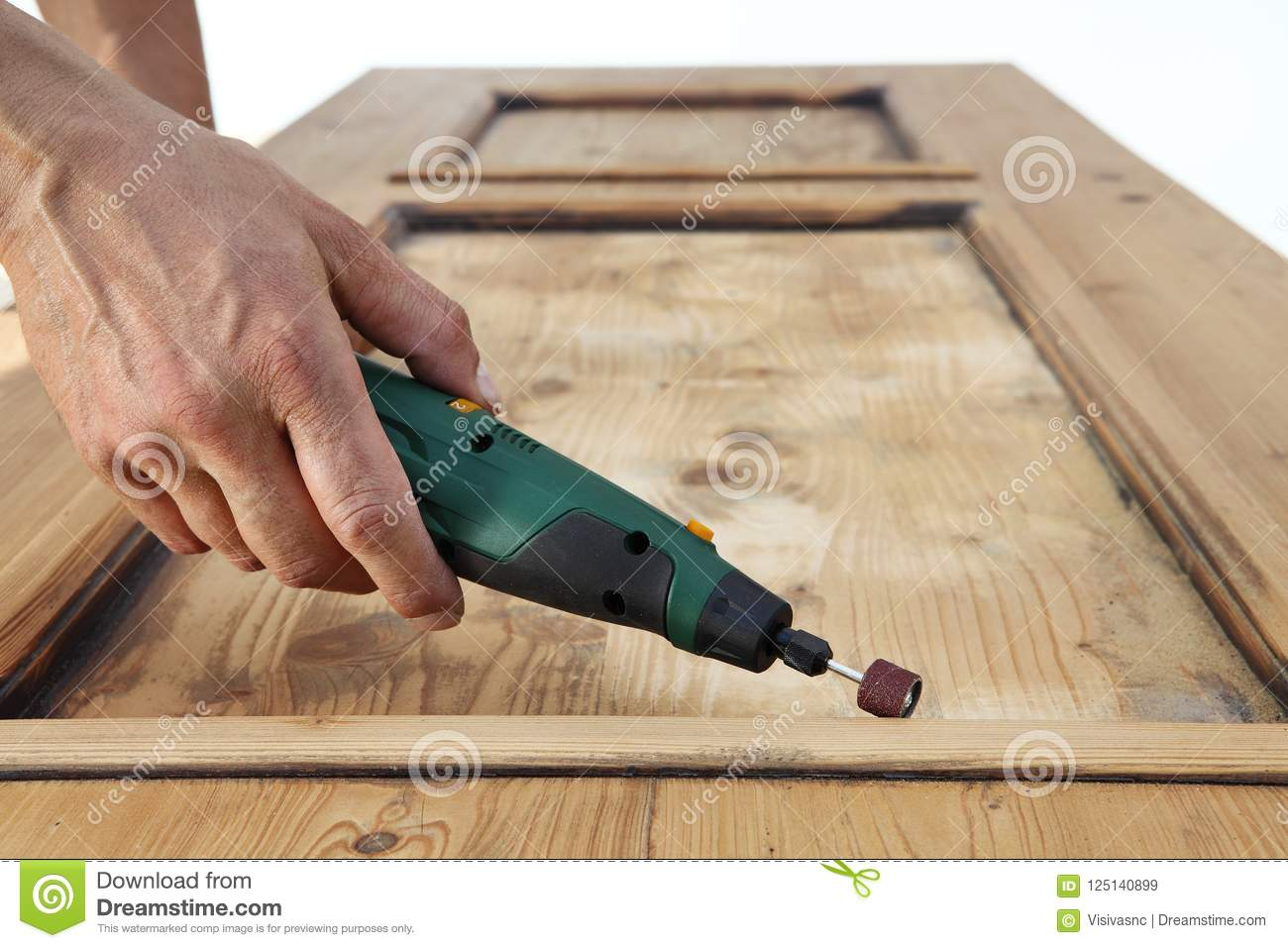 Carpenter Hand Work The Wood With The Rotary Tool Stock Image