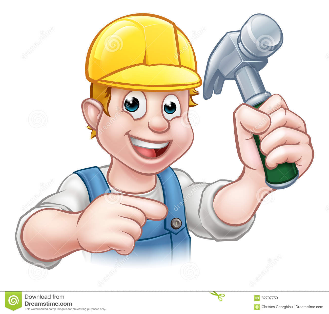 A carpenter handyman in hard hat cartoon character holding a hammer and  pointing e358950abd87