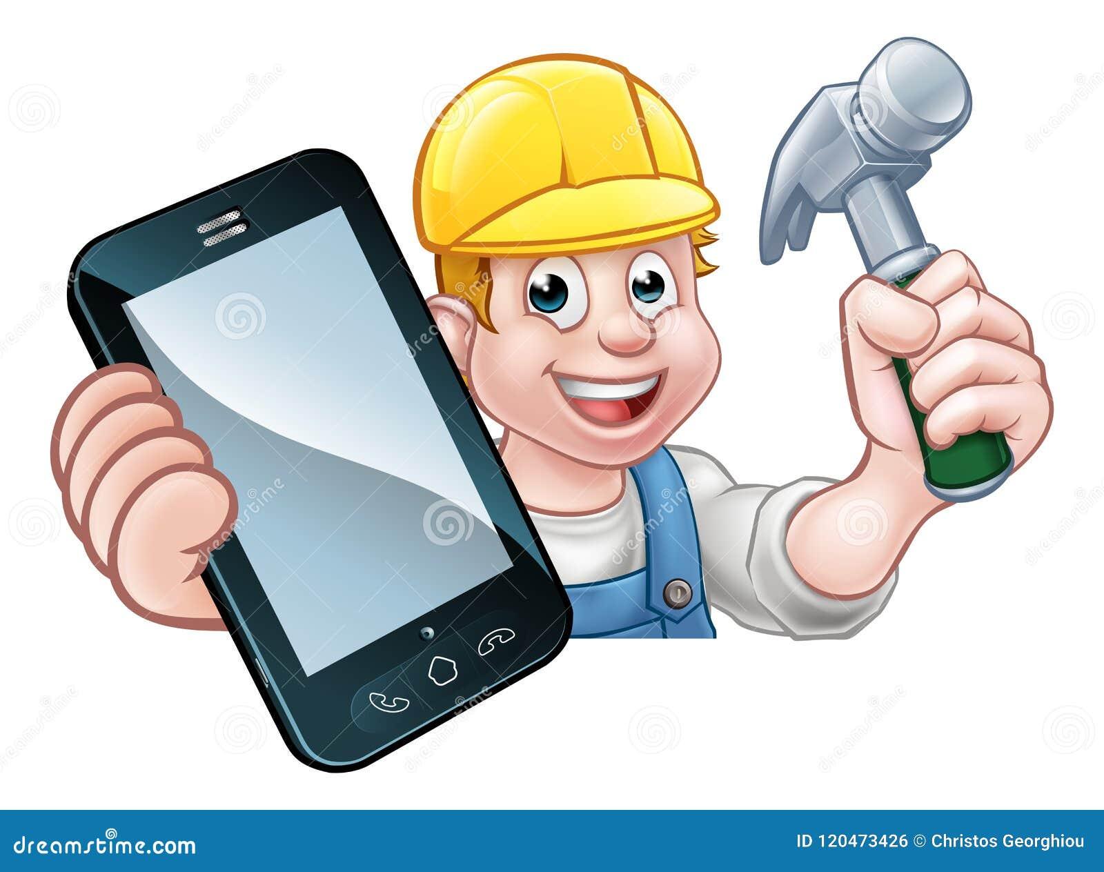 Carpenter Handyman Phone Concept Stock Vector - Illustration of ... 12807216d23e