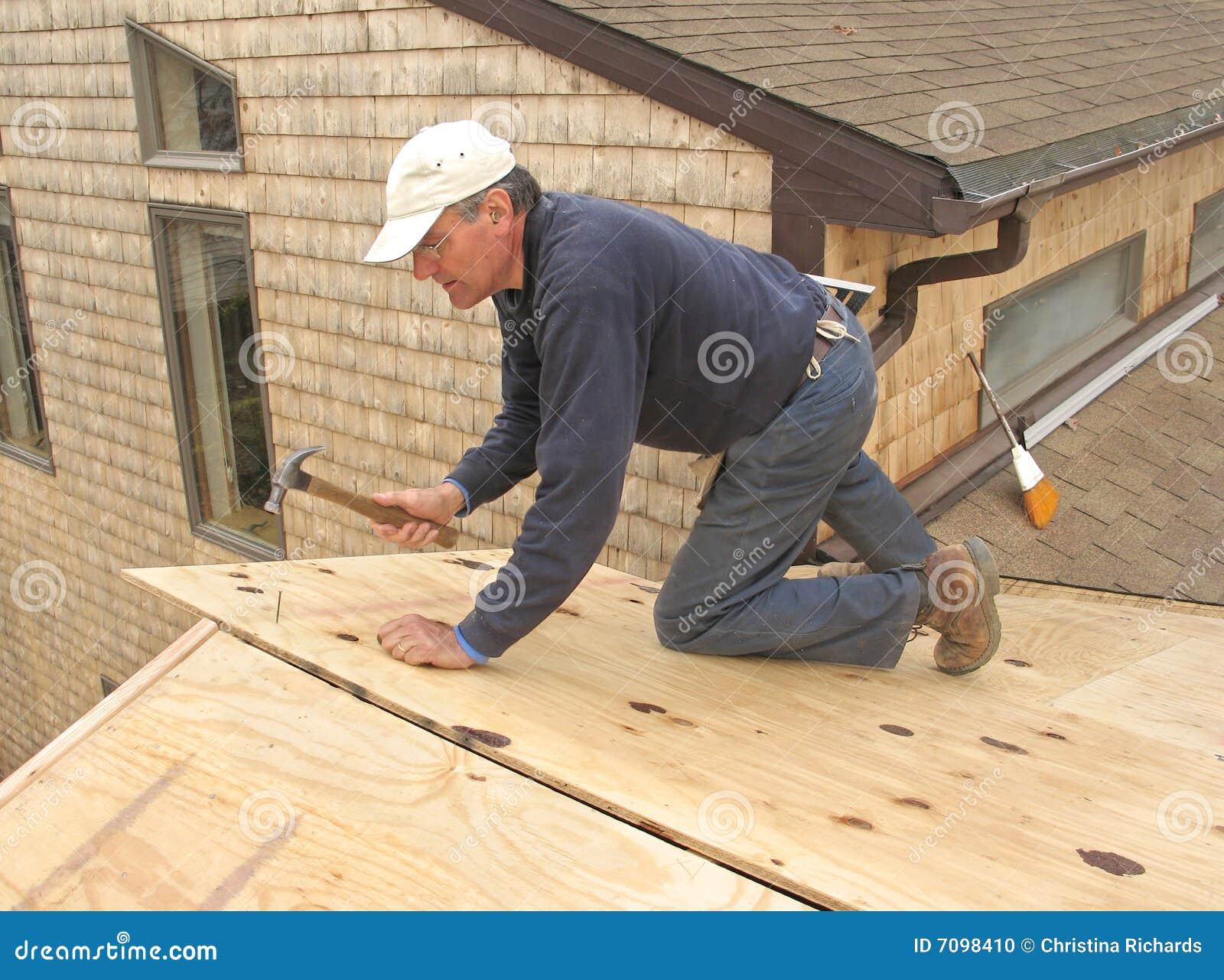 Carpenter Installing Sheathing To Roof Stock Photo Image