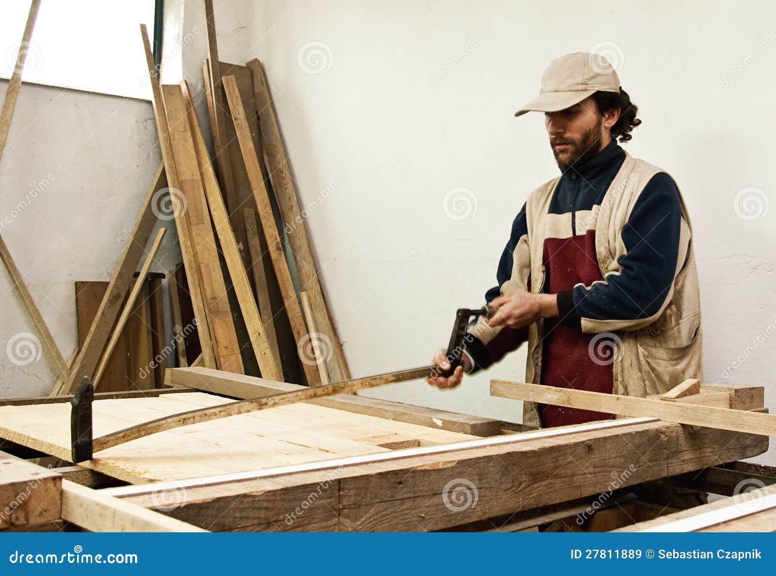 Carpenter Making Furniture Royalty Free Stock Images - Image: 27811889