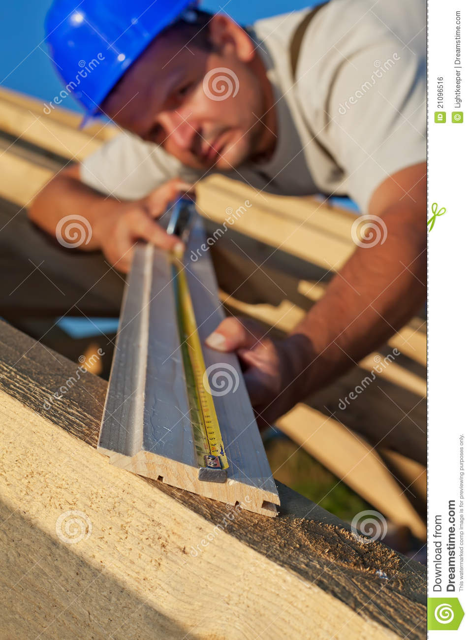 Carpentry Carpenter Woodworker Woodworking Wooden: Carpenter Measuring Wood Planck Royalty Free Stock Image