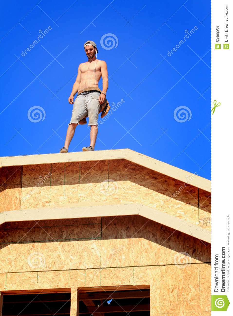 Carpenter On Roof Stock Photo Image 53480954