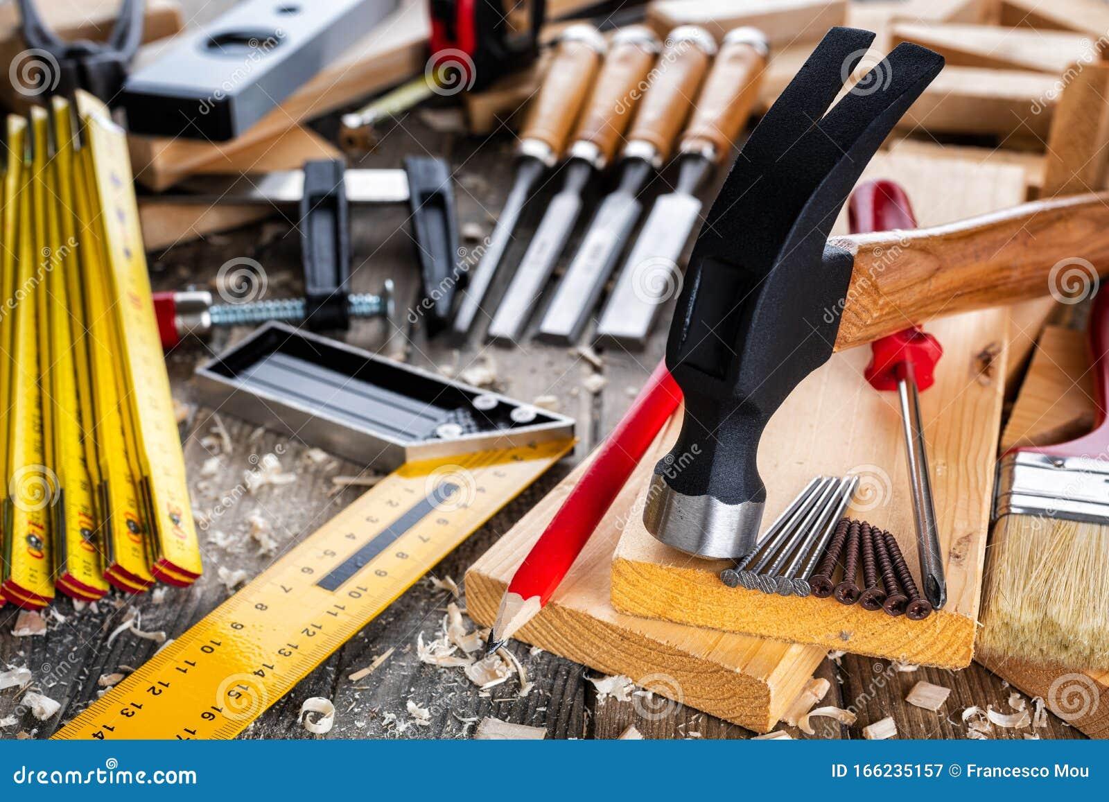 Carpenter`s Work Tools. Carpentry Stock Image - Image of ...