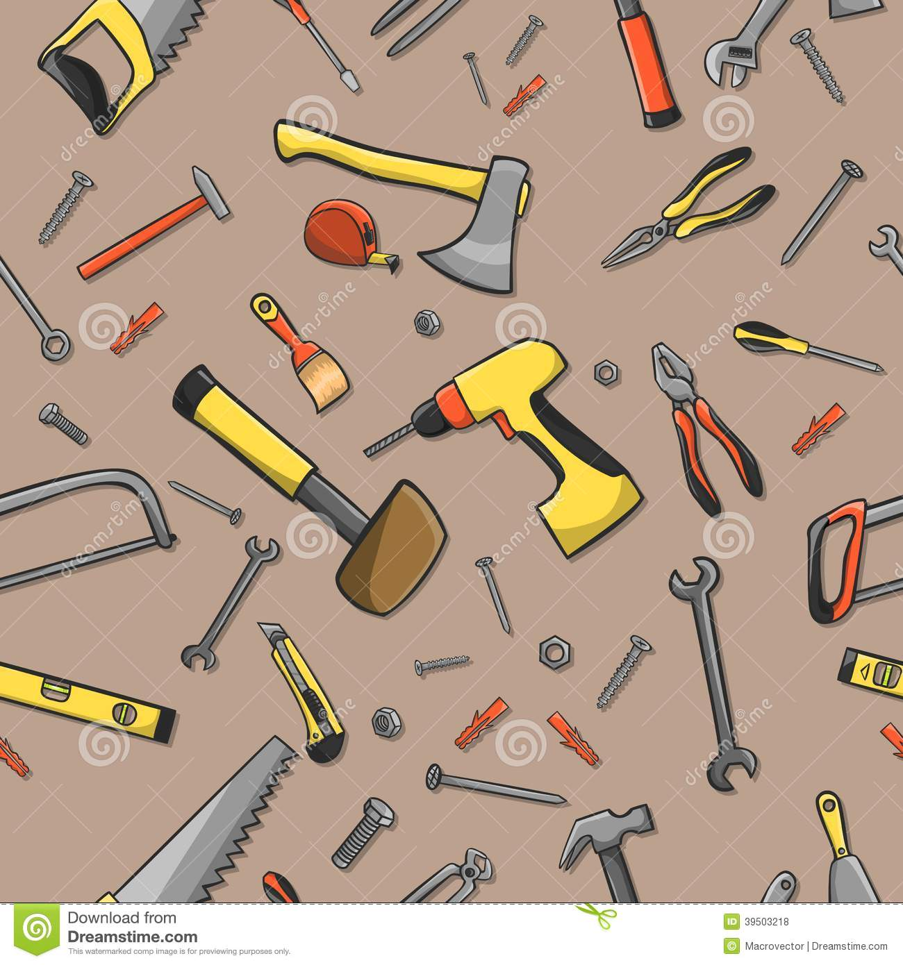 Carpenter tools seamless pattern