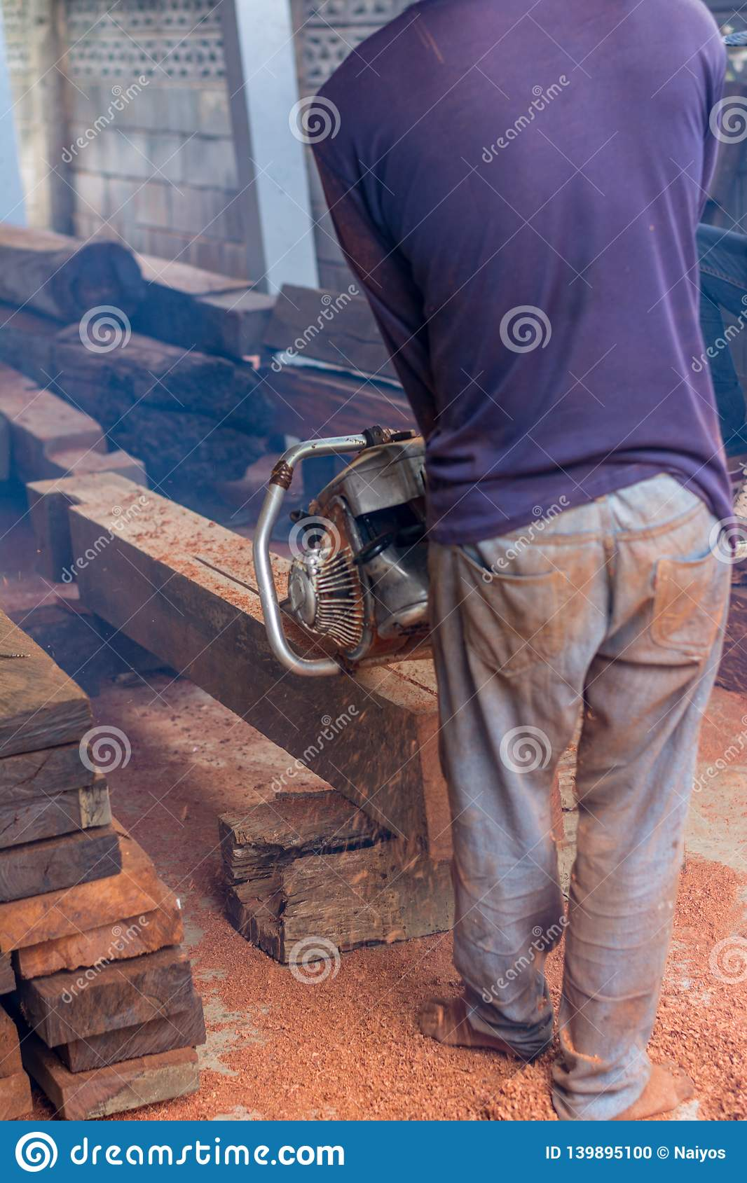 Carpenter is using gasoline engine portable chainsaw cut timber