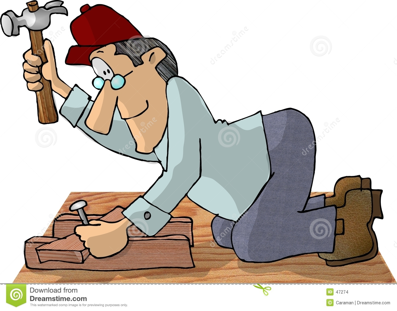 This illustration that I created depicts a carpenter using a hammer to ...