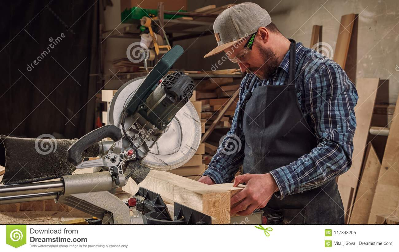 Experienced Carpenter Work With Wooden Stock Image - Image