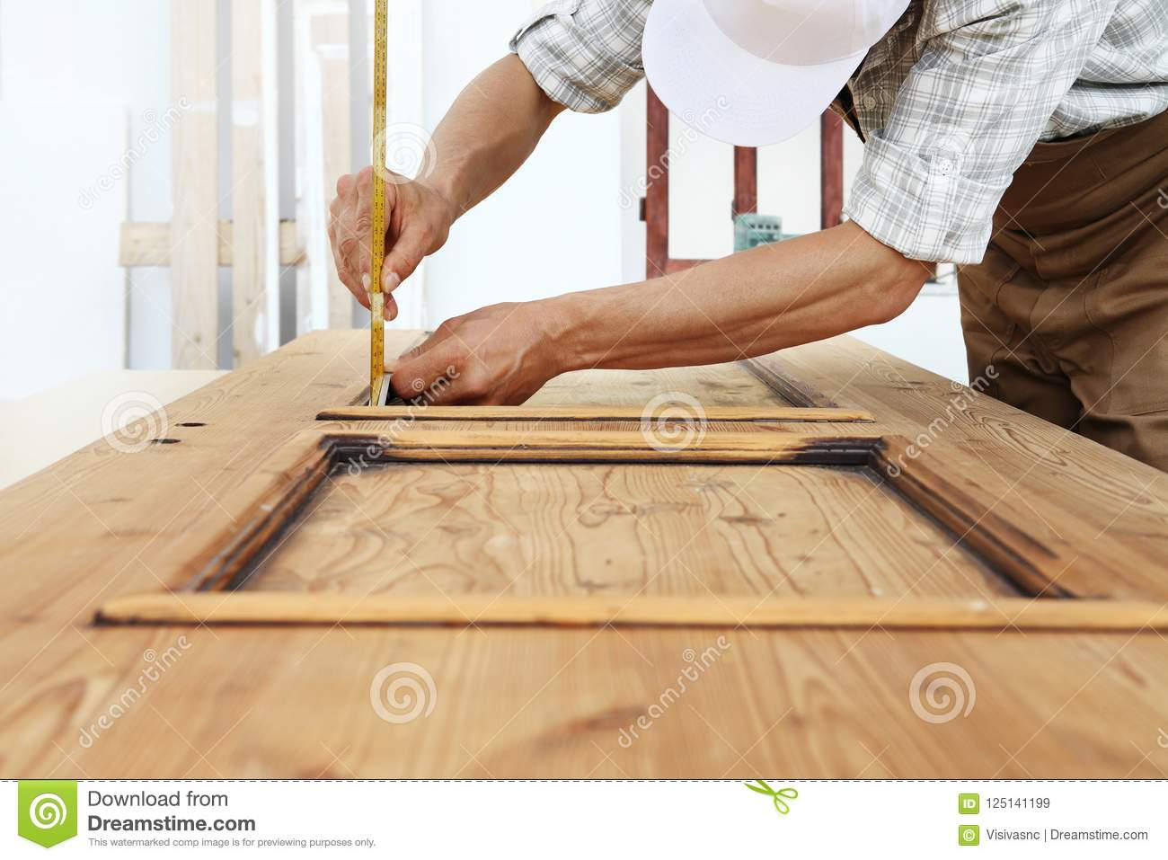 Carpenter Work The Wood Measuring A Thickness With Angle Square
