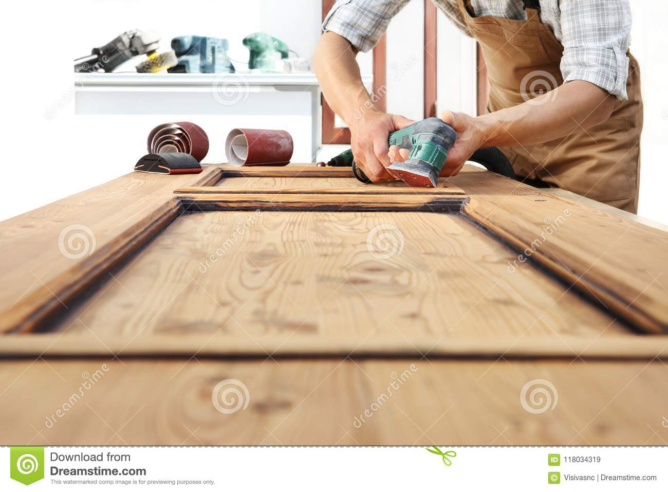 Carpenter Work The Wood With The Sander Stock Image - Image