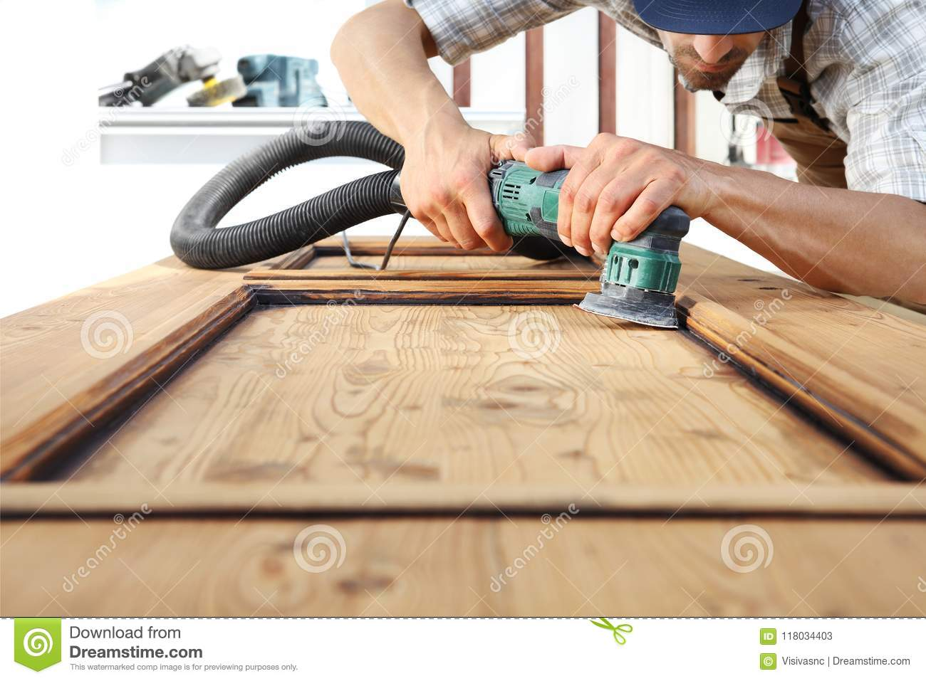 Carpenter Work The Wood With The Sander Stock Image Image Of