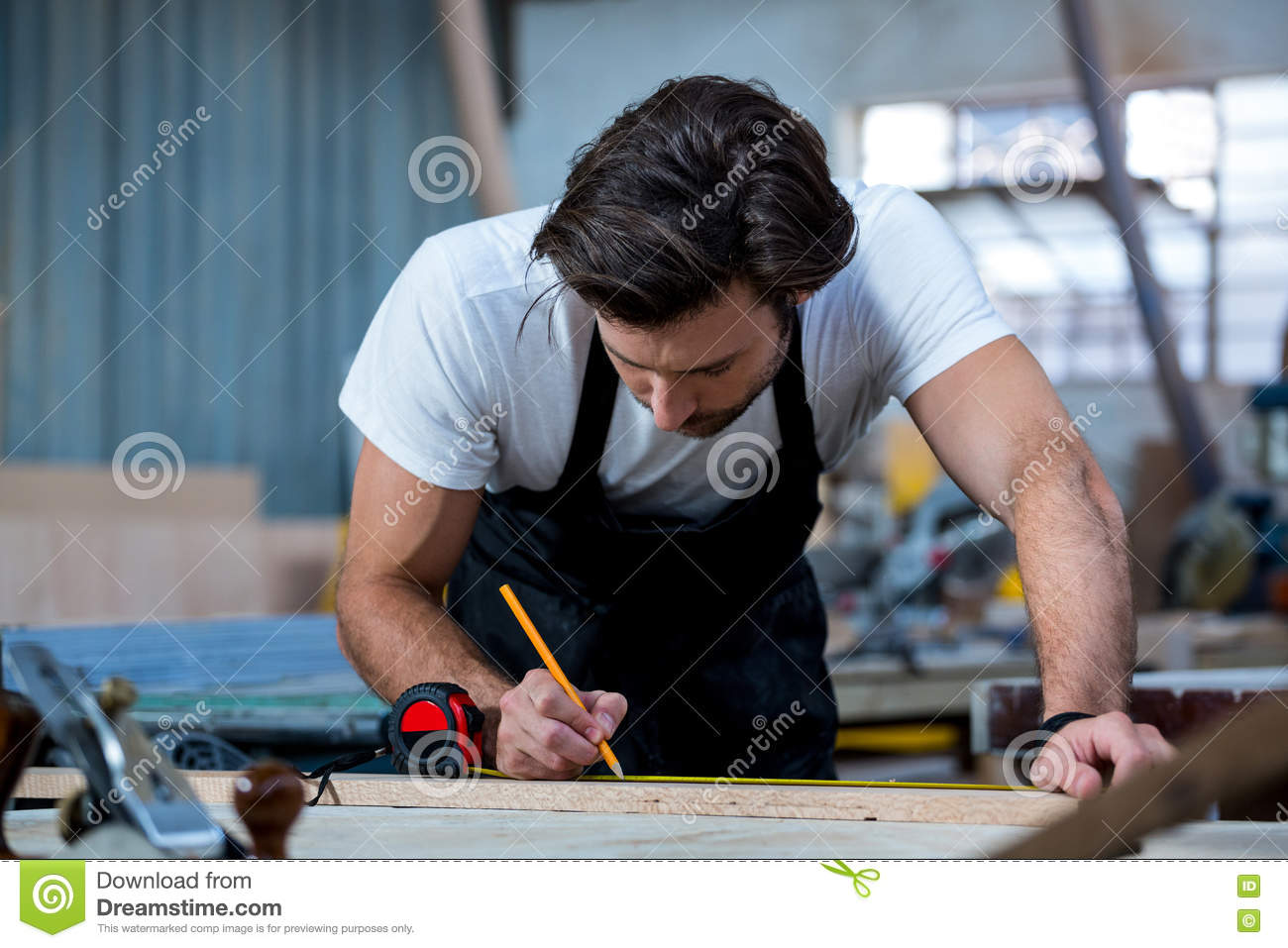 Carpenter Working On His Craft Royalty Free Stock
