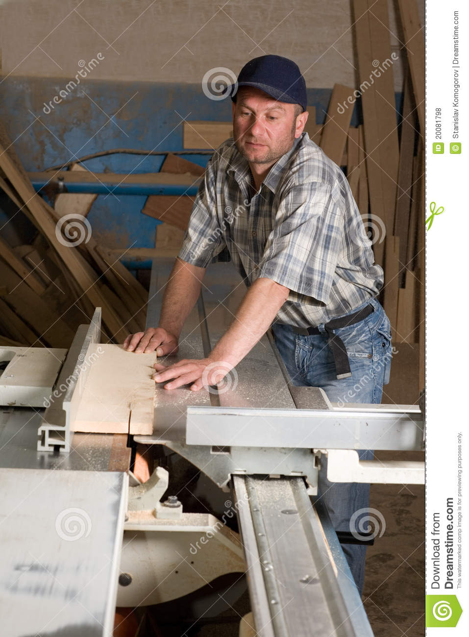 Carpentry Carpenter Woodworker Woodworking Wooden: Carpenter Working On Woodworking Machines Stock Photo