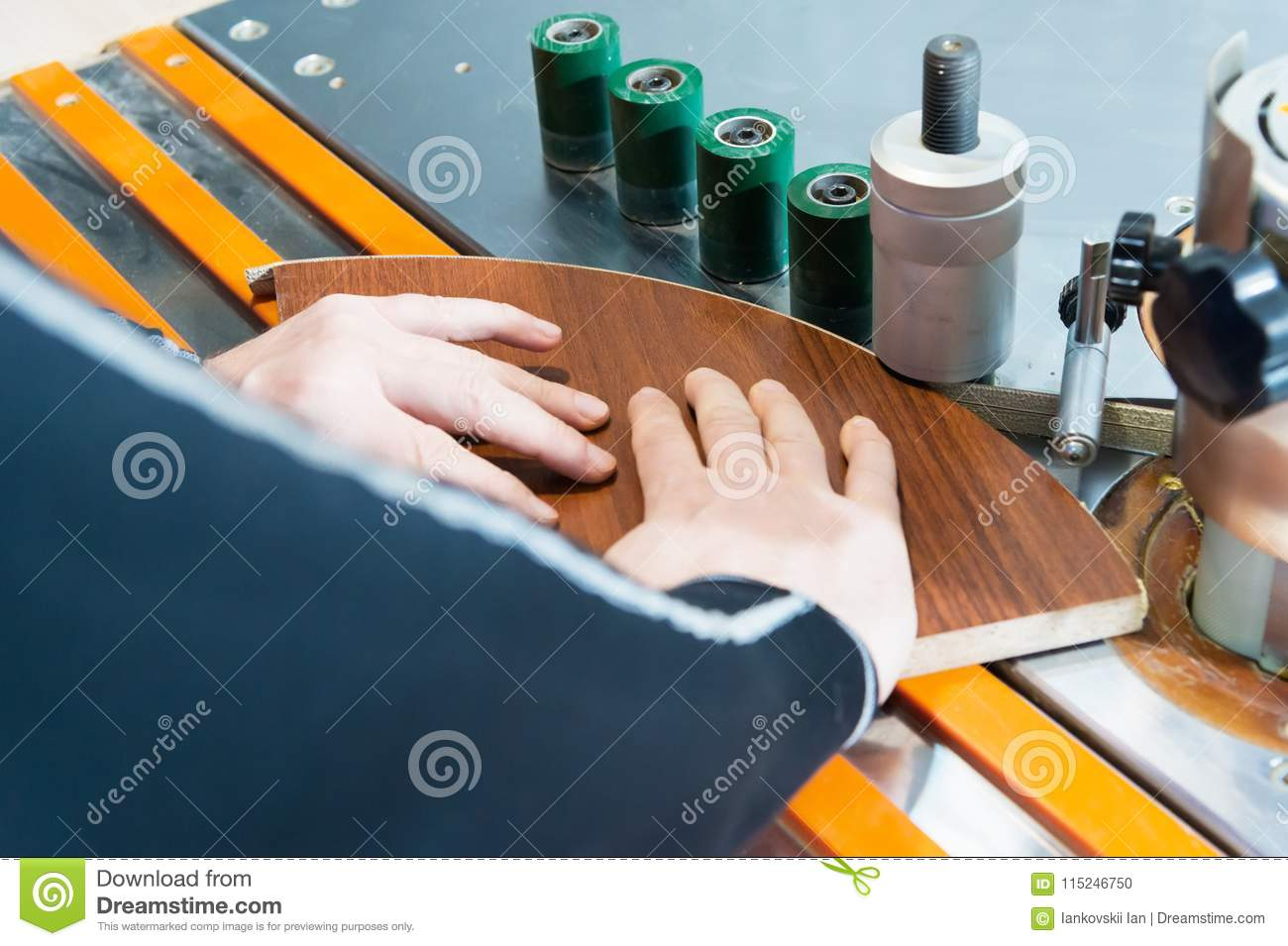 Carpenter Works For Edge Banding Machine In Workshop Stock Photo