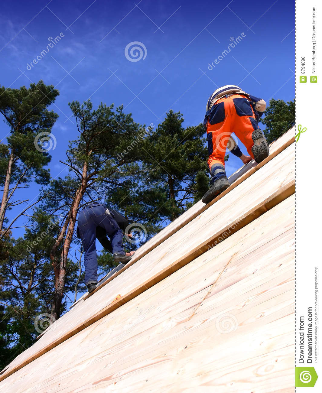 Carpenters on a Wooden Roof