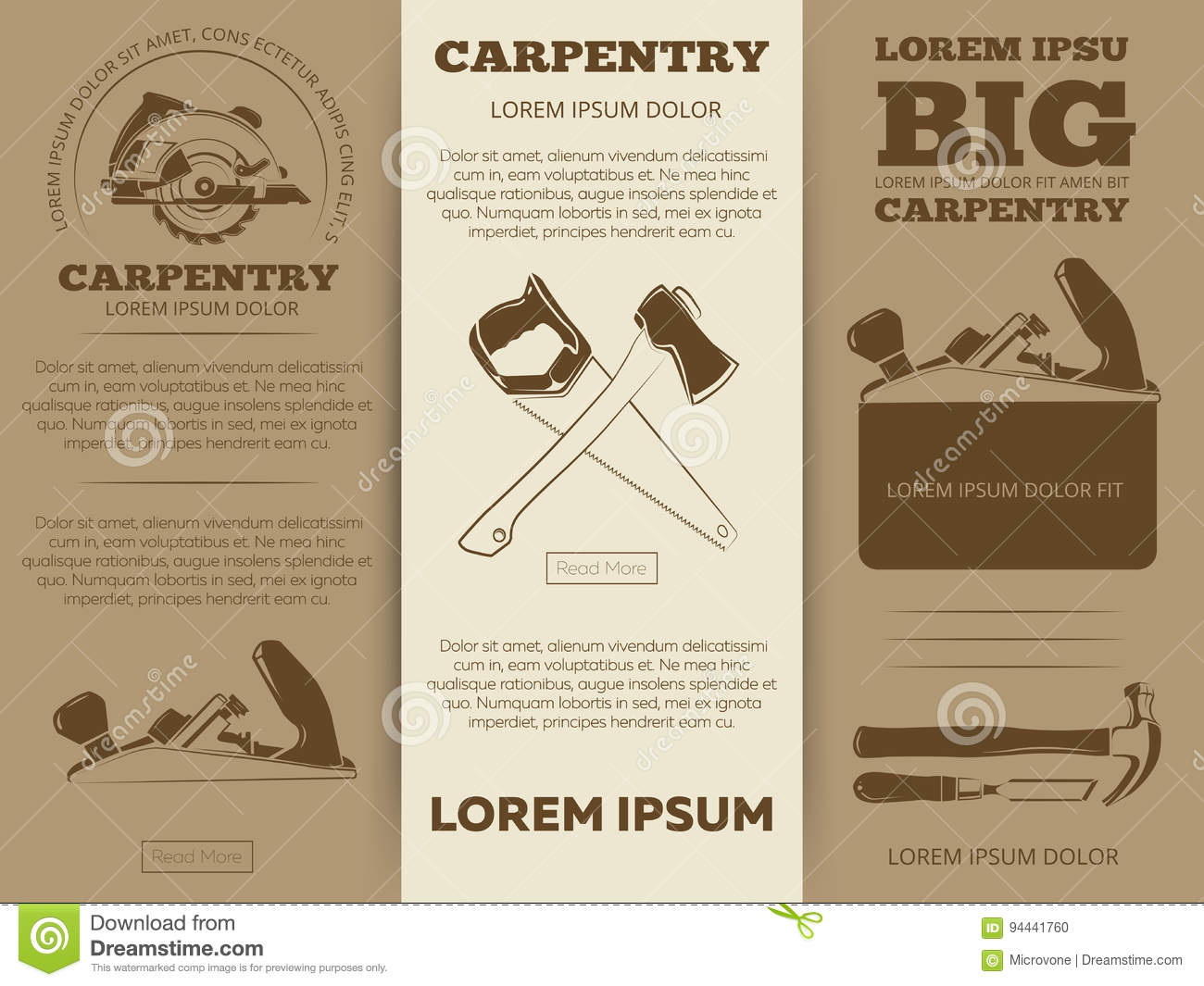 Carpentry tools brochure stock vector image 94441760 for Brochure design tools