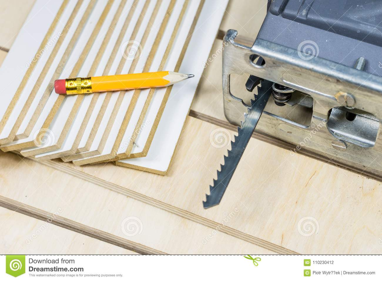 Carpentry Tools On A Wooden Workshop Table Saw And Other Carpen