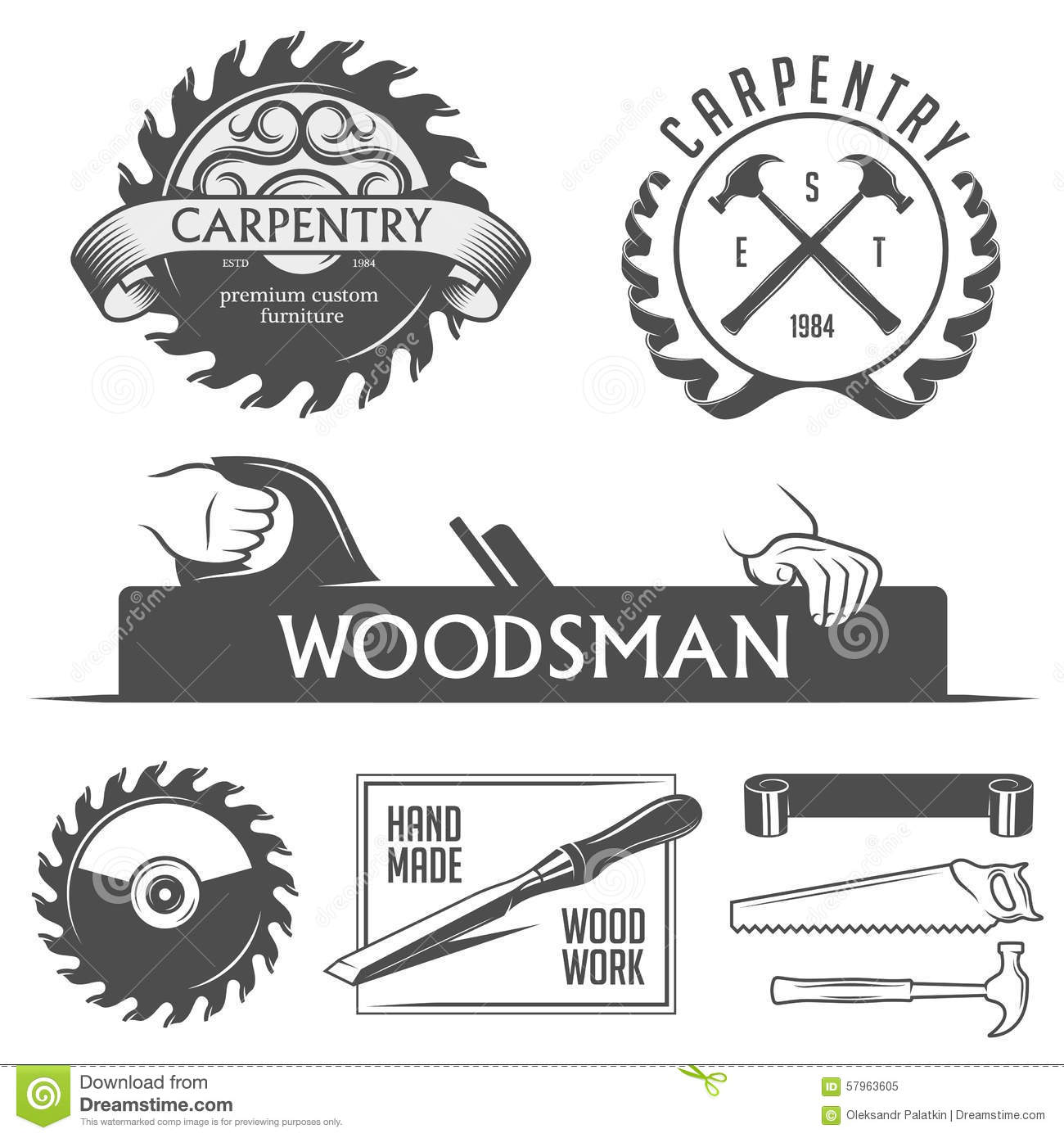 Carpentry and woodwork design elements in vintage stock for Logo drawing tool