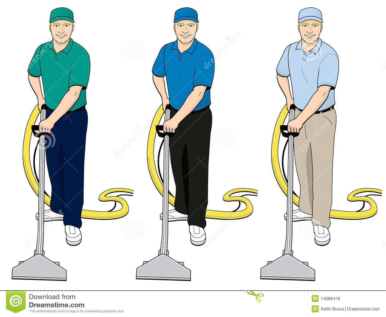 Carpet Cleaning Tech Clip Art Set 2 Royalty Free Stock