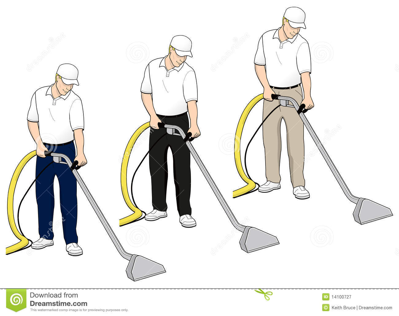 Carpet Cleaning Tech Clip Art Set 4 Royalty Free Stock