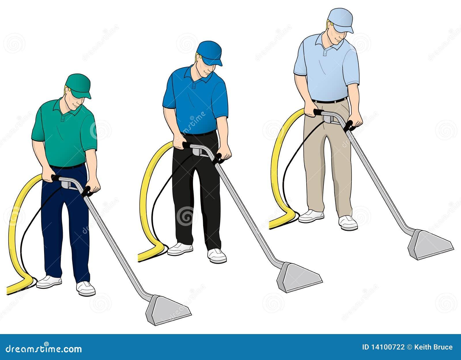 Carpet Cleaning Tech Clip Art Set 5 Stock Photography