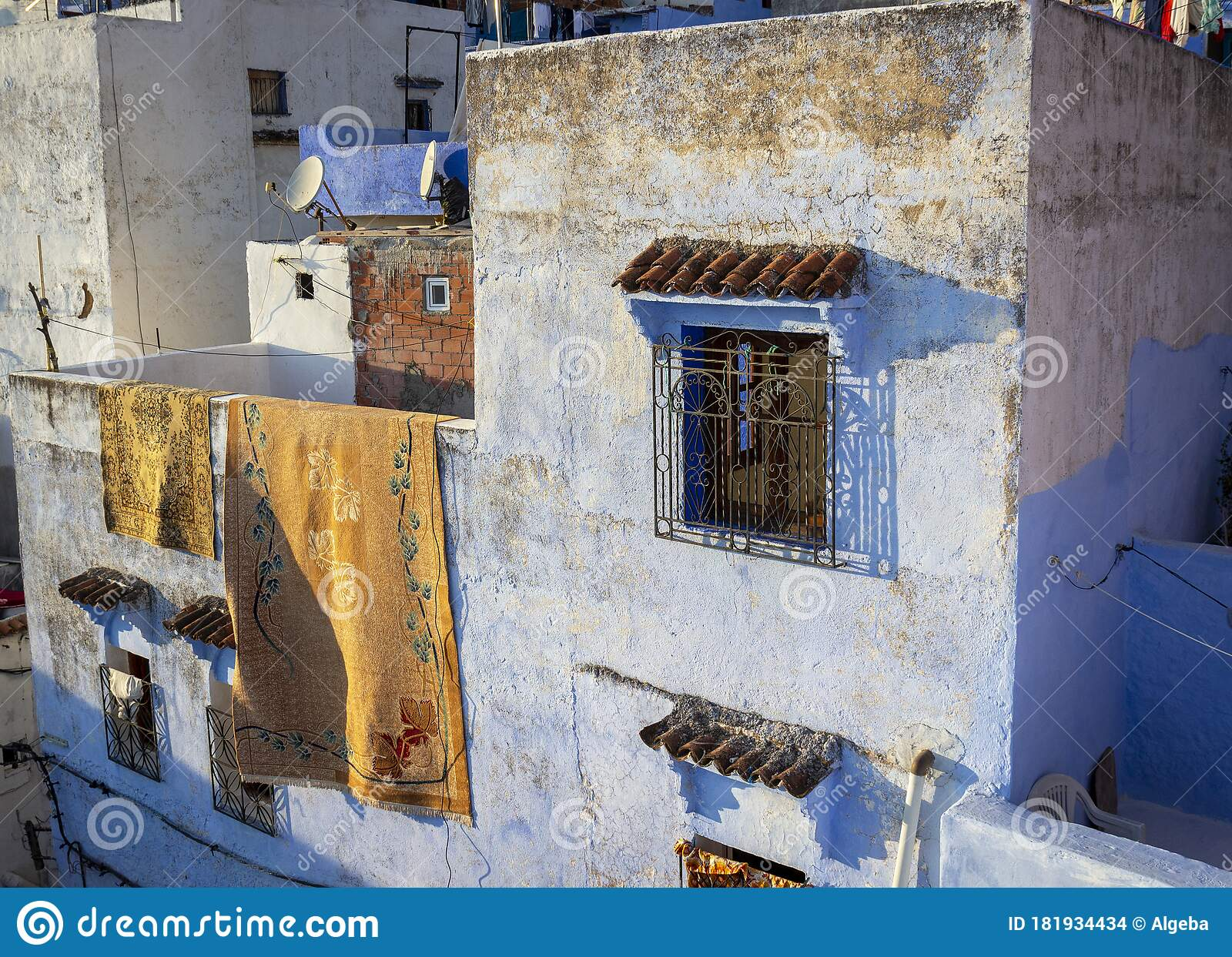 Carpet Draped Over Blue Wall Stock Photo Image Of Arabic Bazaar 181934434