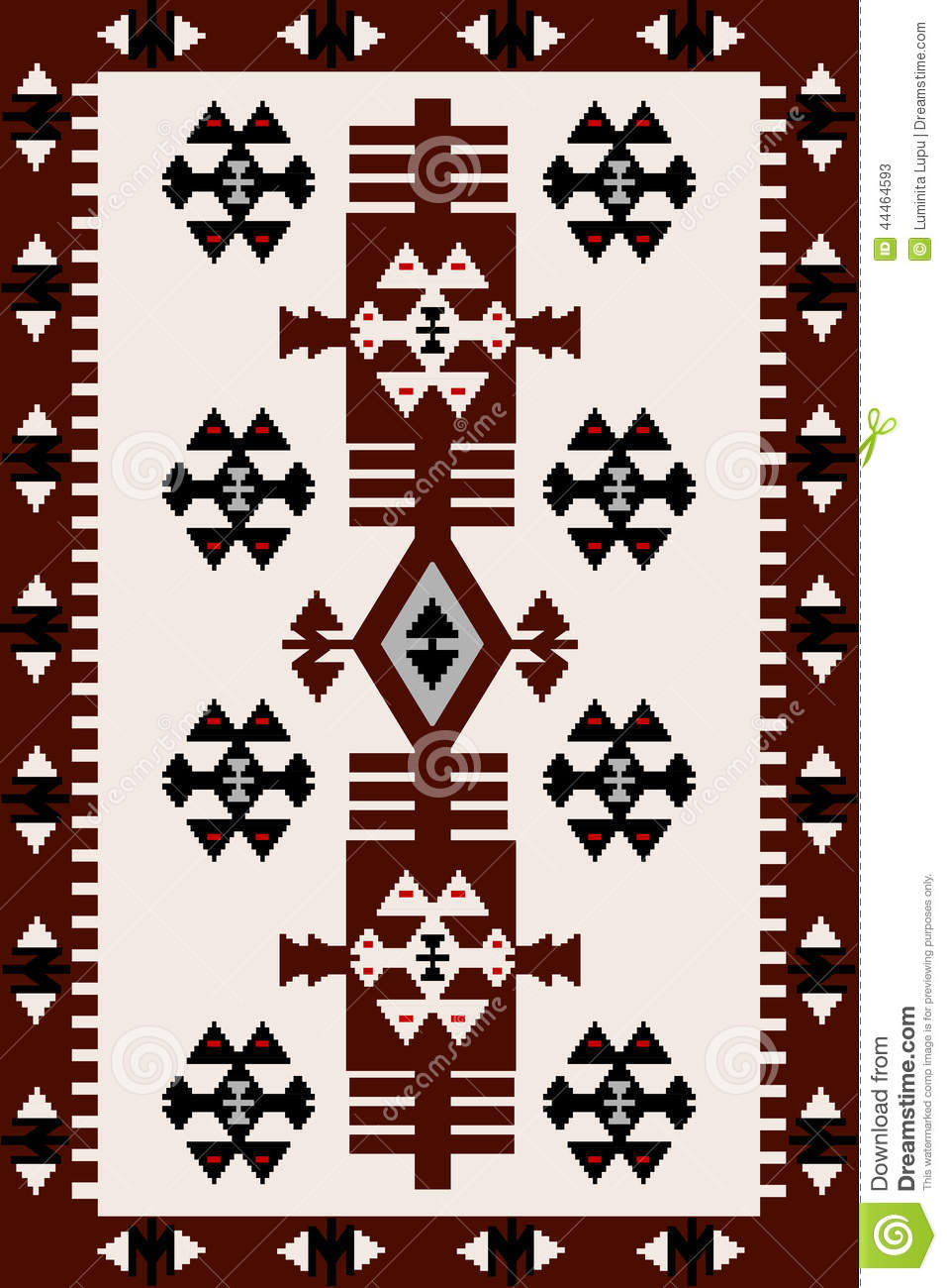 Carpet With Hungarian Motifs Stock Vector Image 44464593