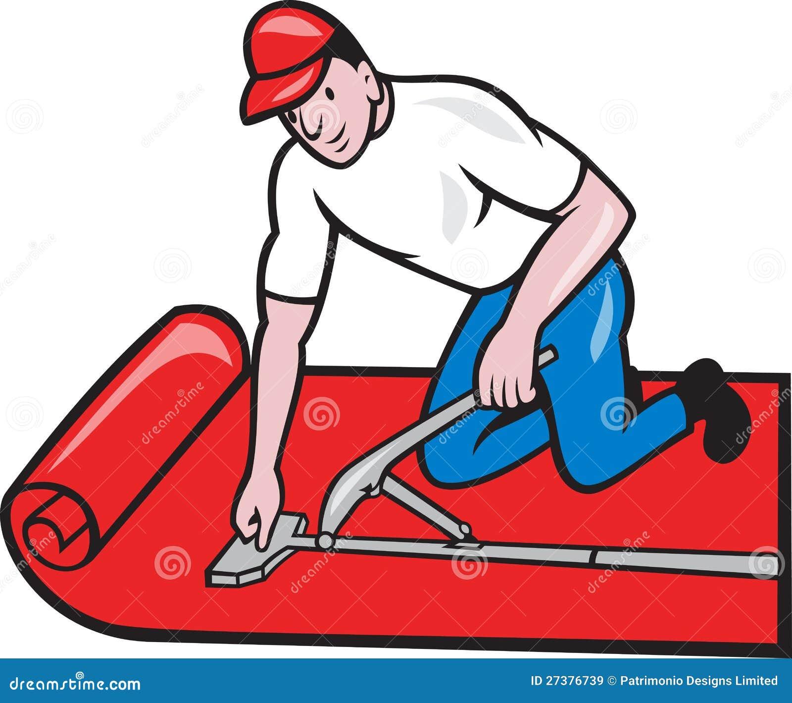 Carpet layer fitter worker cartoon stock vector for Cartoon carpet