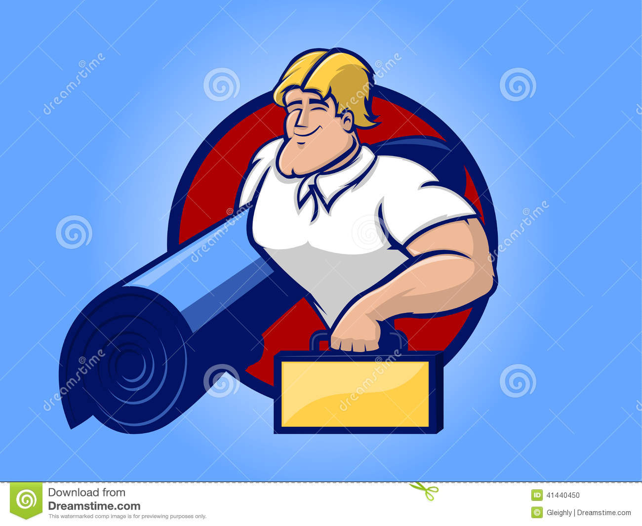 Illustration Of A Strong Repair Man Holding Rug Ad Tool Box