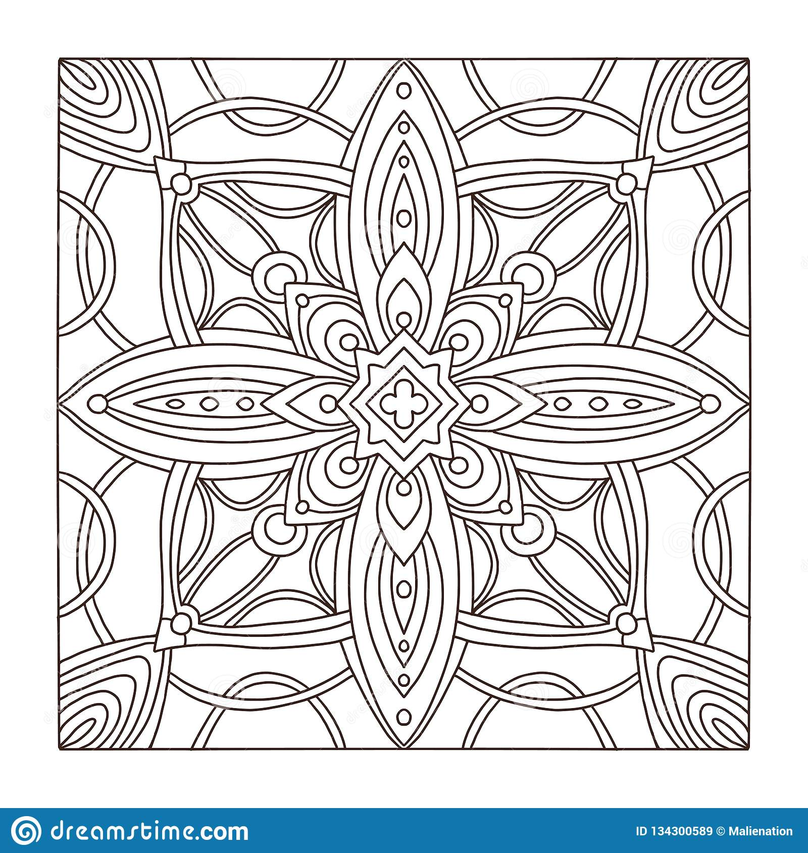 Carpet Square Tile Ornament Pattern. Adult Coloring Book ...