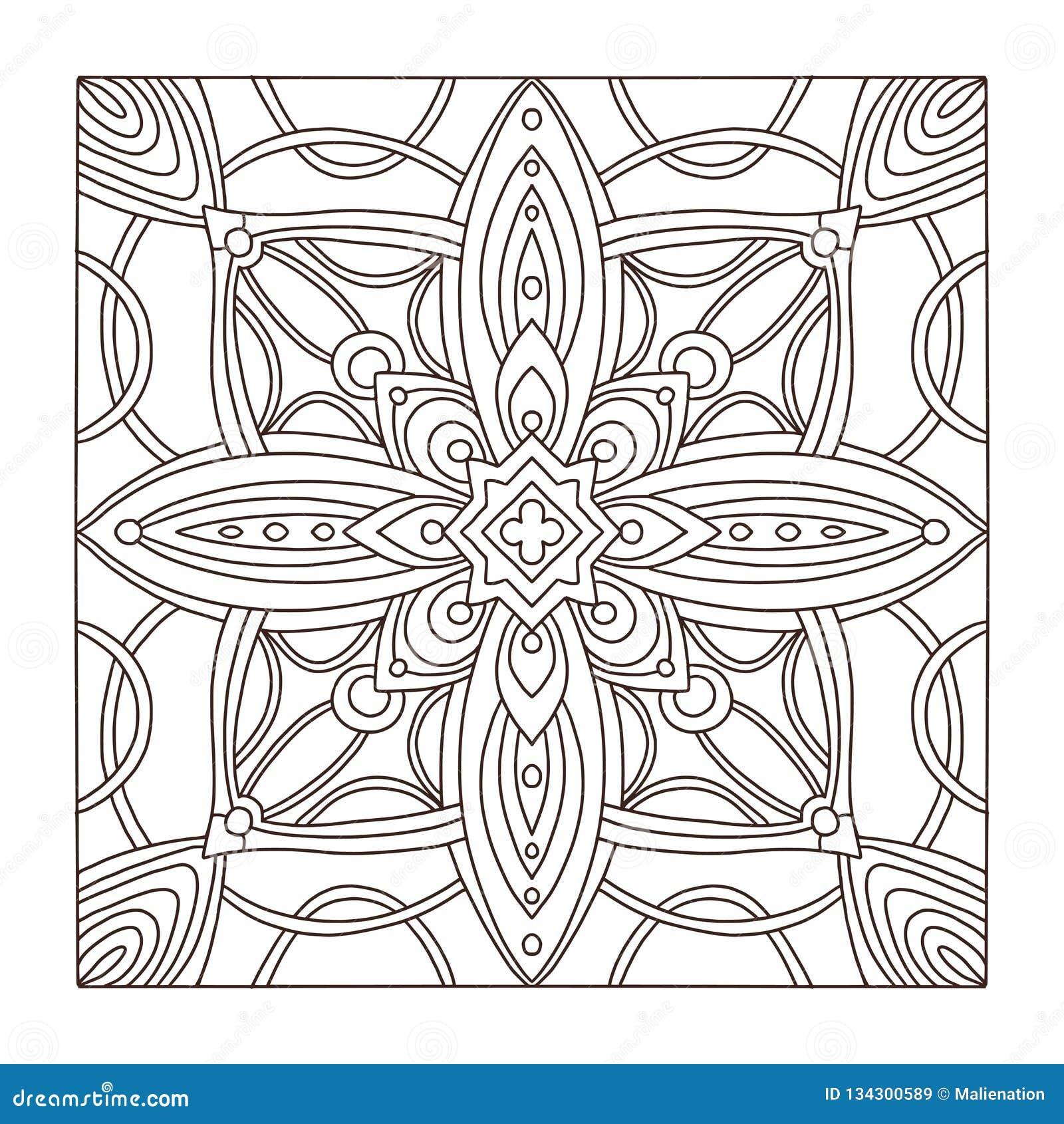 Carpet Square Tile Ornament Pattern. Adult Coloring Book Page ...