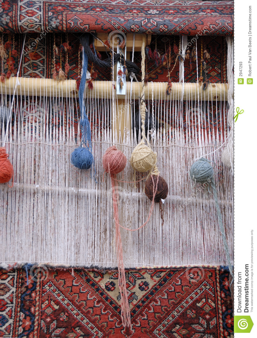 Carpet Weaving Loom Stock Image Image Of Thread Carpet