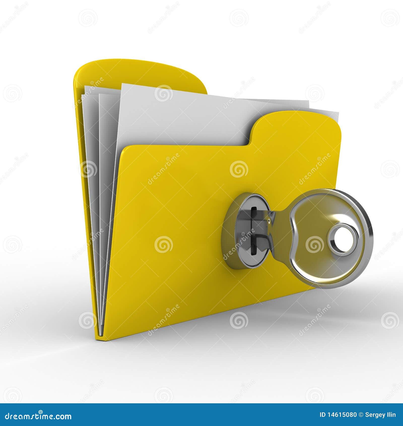 Carpeta amarilla del ordenador con clave