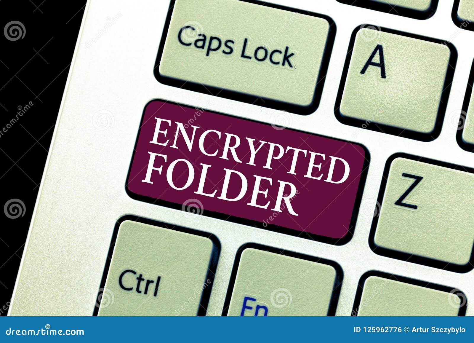 Carpeta cifrada demostración conceptual de la escritura de la mano El texto de la foto del negocio protege datos confidenciales c