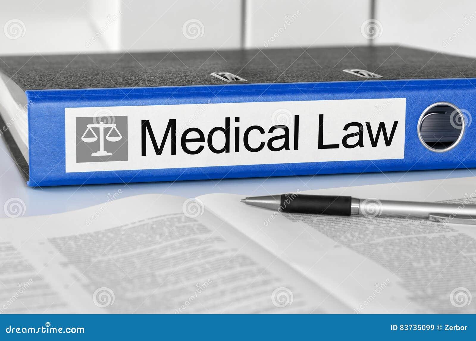 Carpeta con la ley médica de la etiqueta