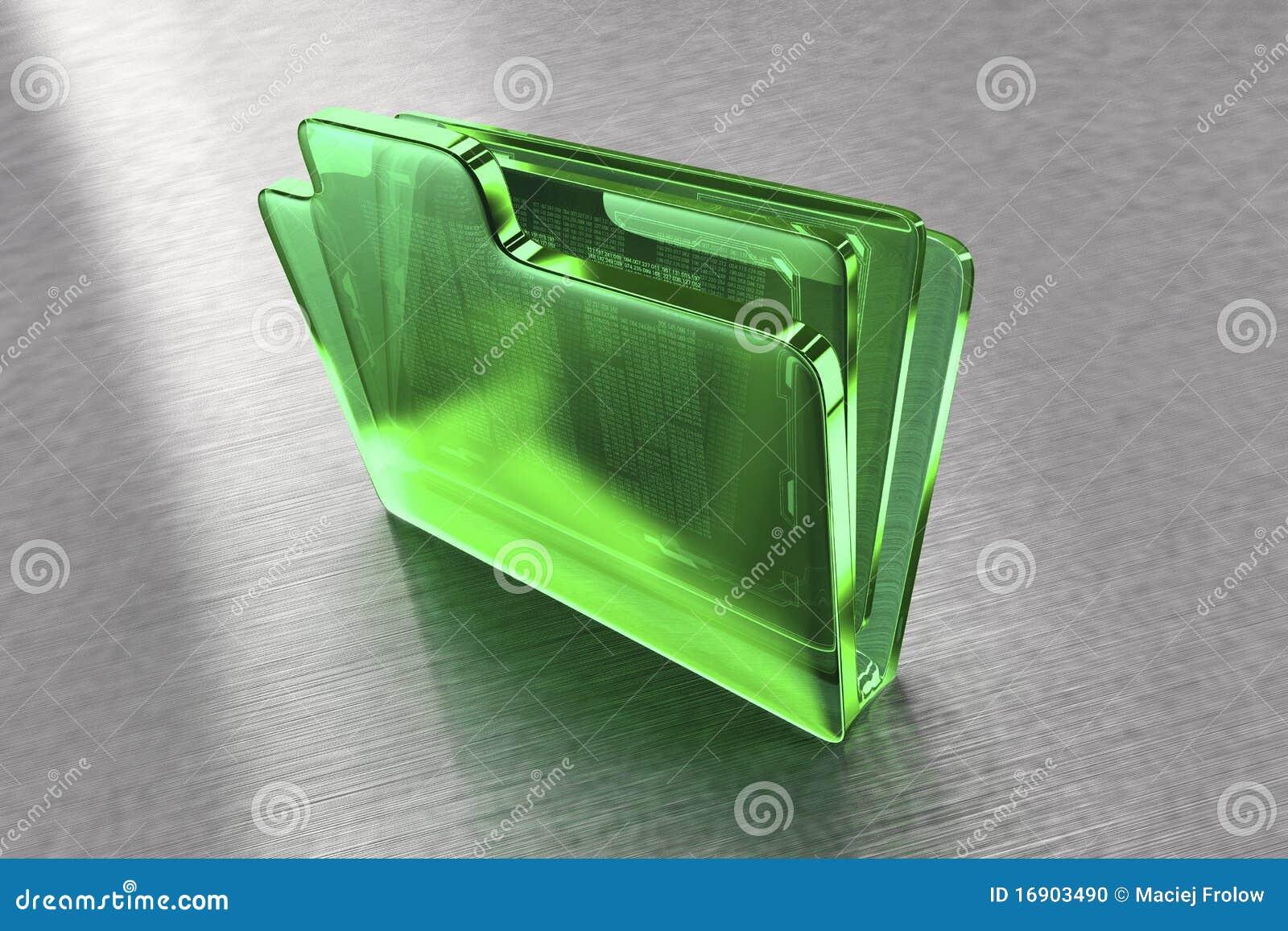 Carpeta de fichero del vidrio verde