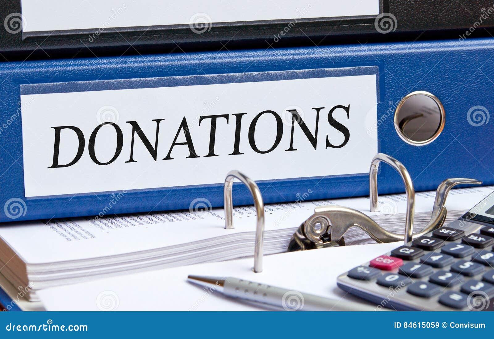 Carpeta de las donaciones en la oficina