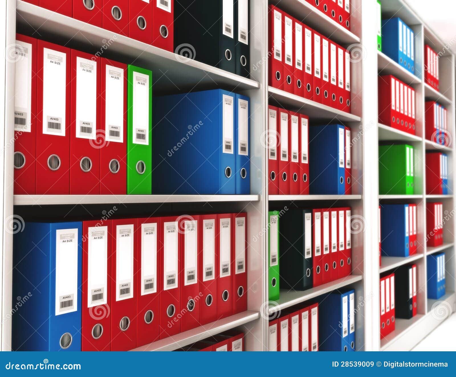Carpetas de anillo de la oficina en un estante im genes de for Carpetas para oficina