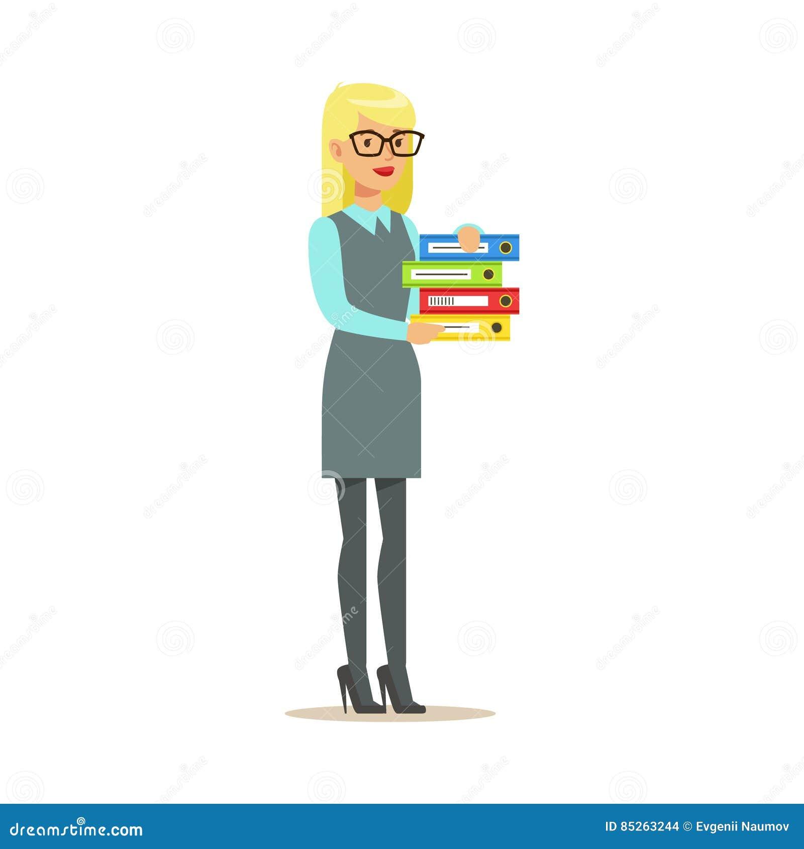 Carpetas rubias de secretaria Holding Pile Of, parte de serie de los oficinistas de personajes de dibujos animados en ropa oficia