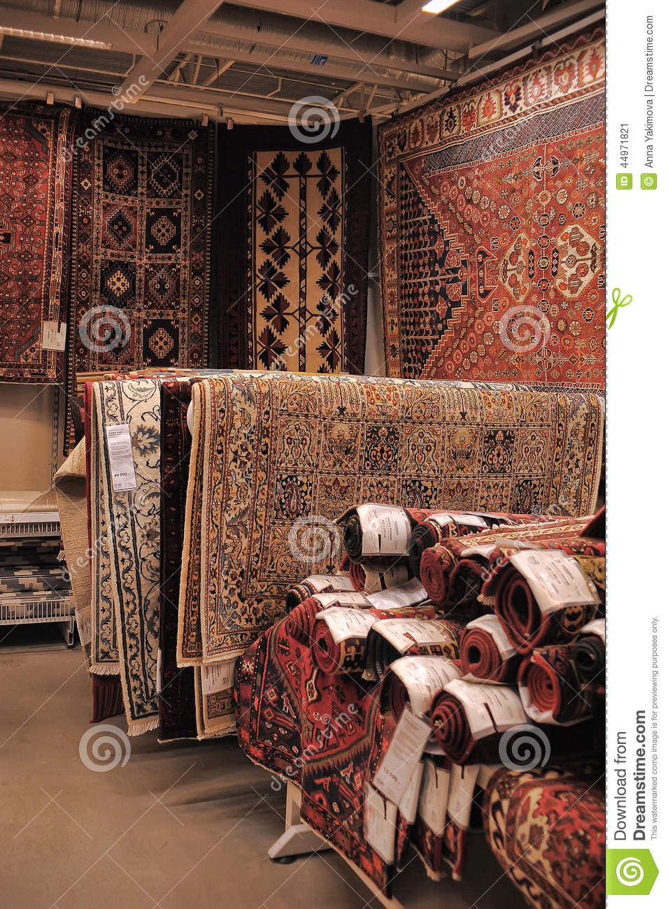 Many Colorful Carpets In The Store Stock Photography