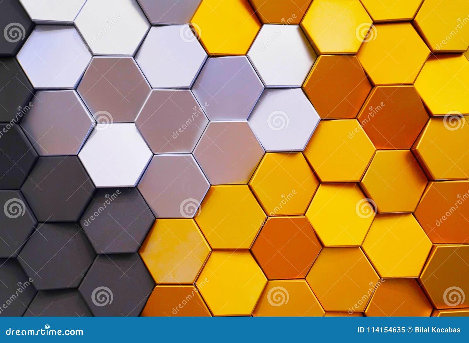 Carreaux de céramique décoratifs colorés de forme de nid d abeilles sur le mur