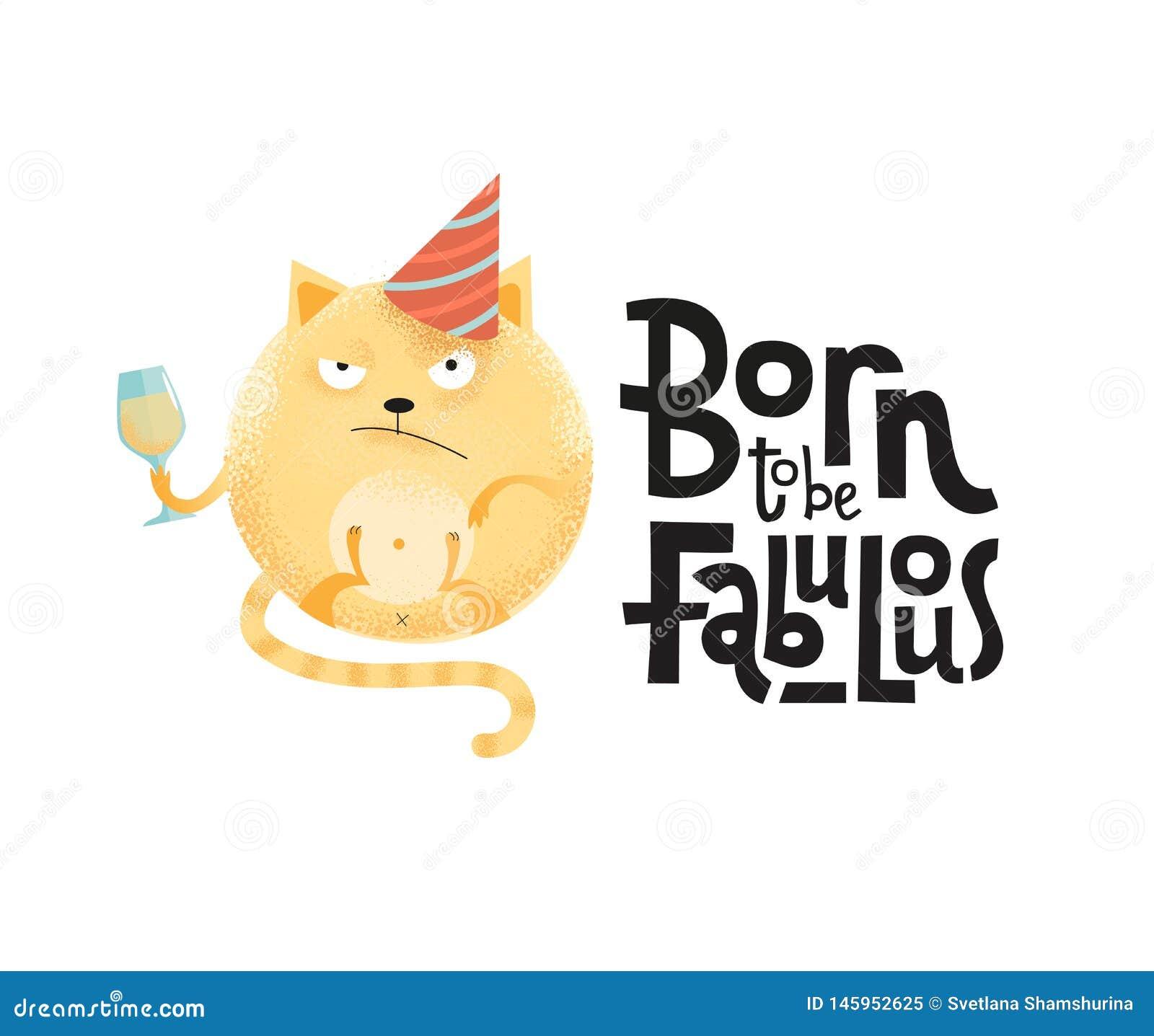 Carregado ser citações fabulosas do humor engraçado, cômico, preto com o gato redondo irritado com copo de vinho, tampão do feria