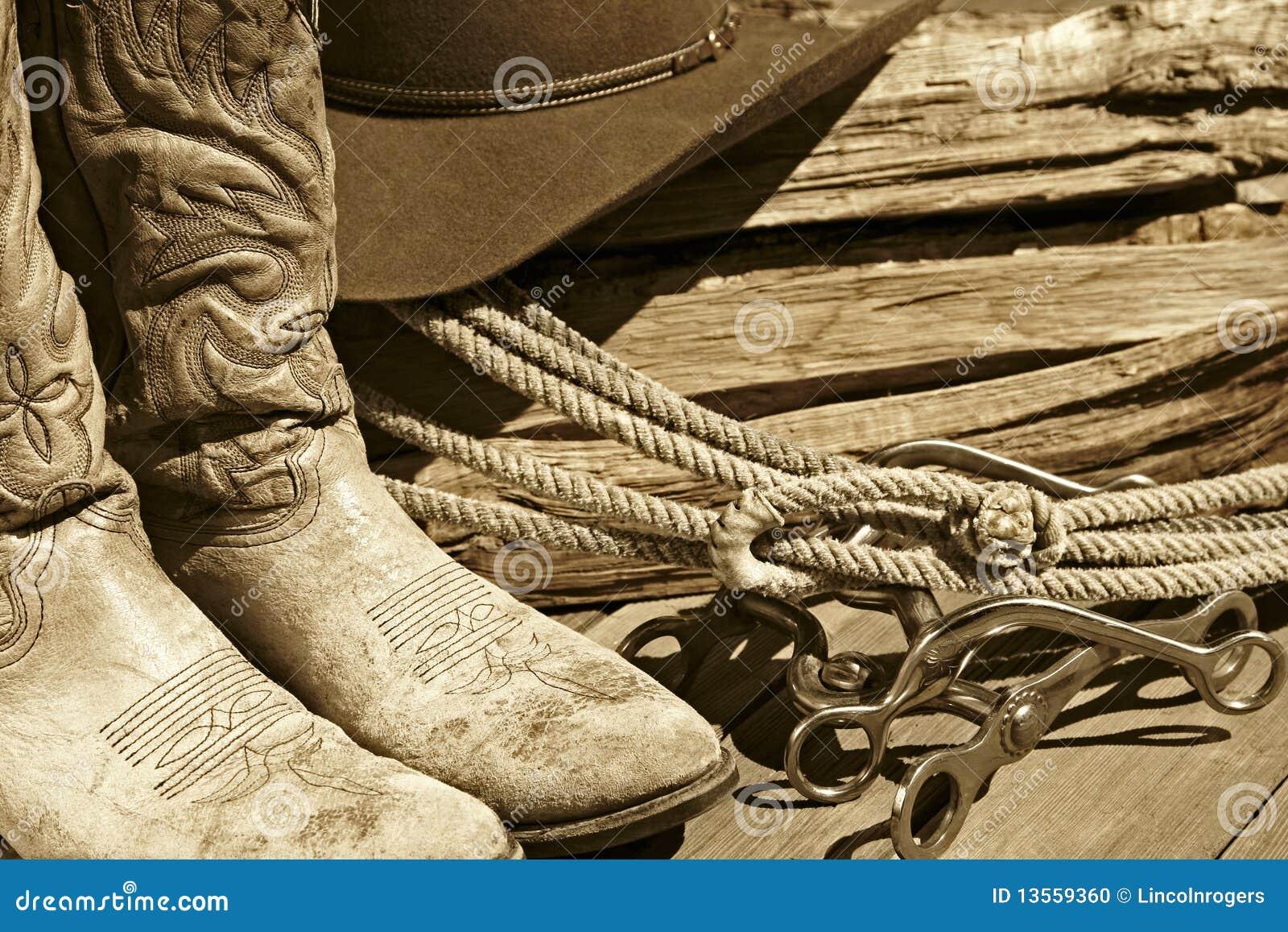 Carregadores de cowboy, chapéu, corda & bits (Sepia)
