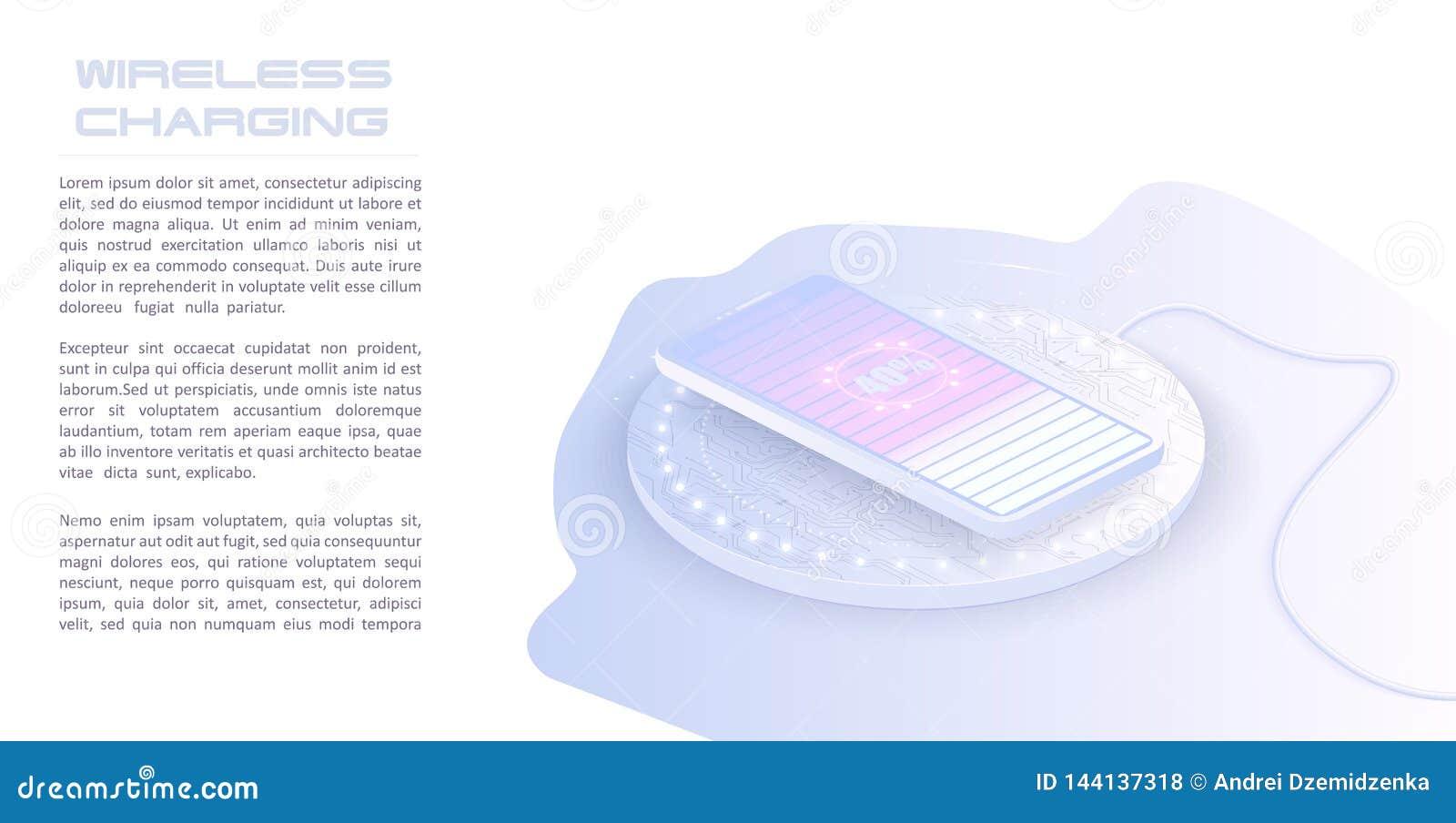 Carregamento sem fio da bateria do smartphone Conceito futuro O progresso de carregar a bateria do telefone