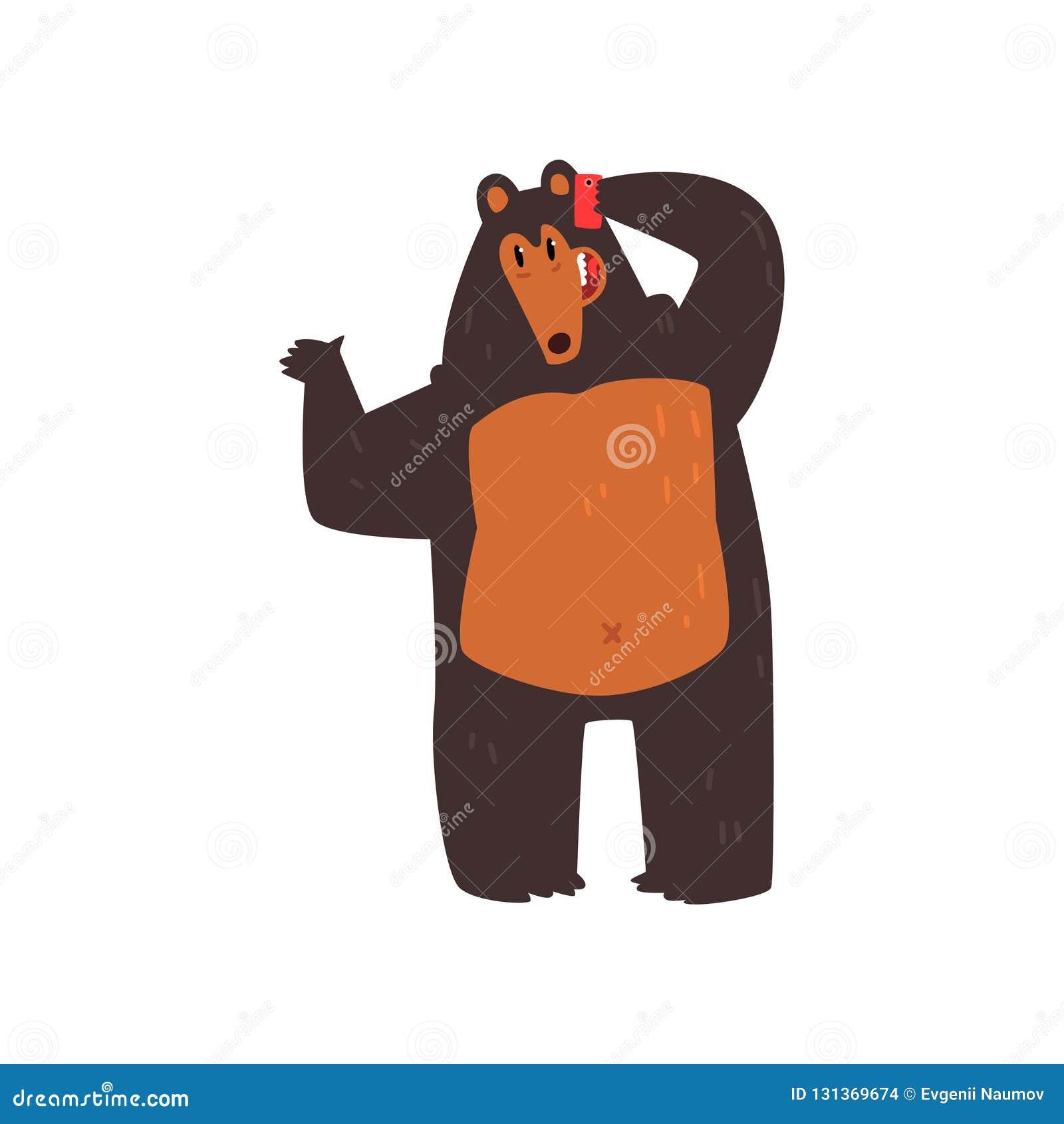 Carregue falar no telefone, personagem de banda desenhada animal bonito com ilustração moderna do vetor do dispositivo em um fund